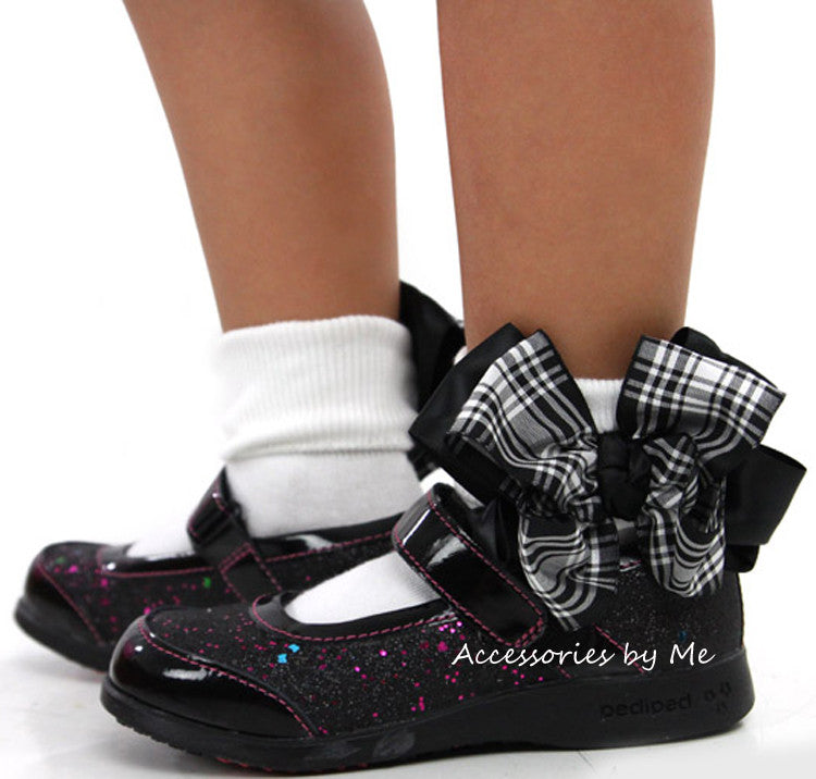 Frilly Black White Plaid Check Bow Socks - Accessories by Me