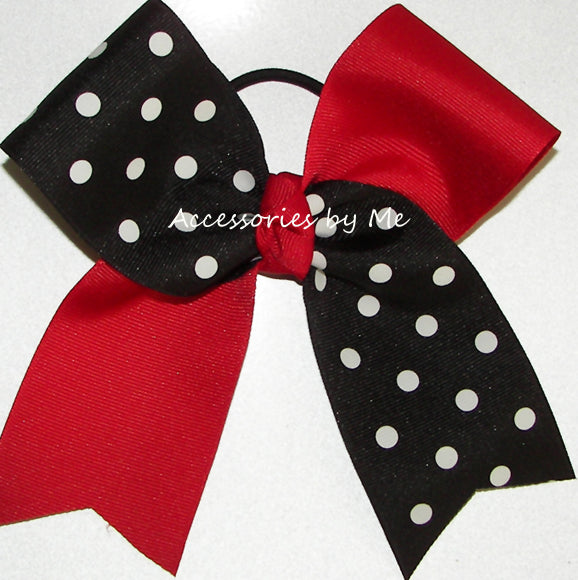 Red Black Polka Dots Big Cheer Bow