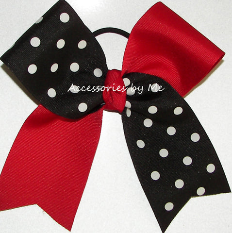 Red Black Polka Dots Cheer Bow