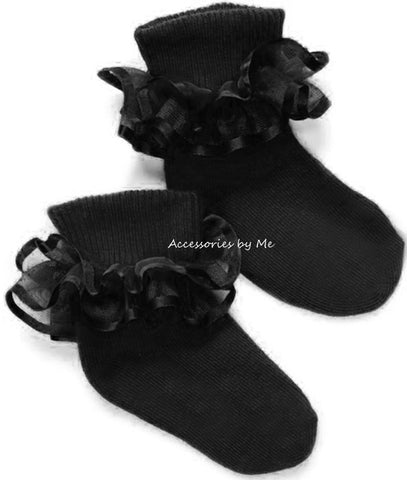 Pageant Ruffle Trim Black Socks