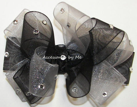 Glitzy Black Silver Organza Hair Bow