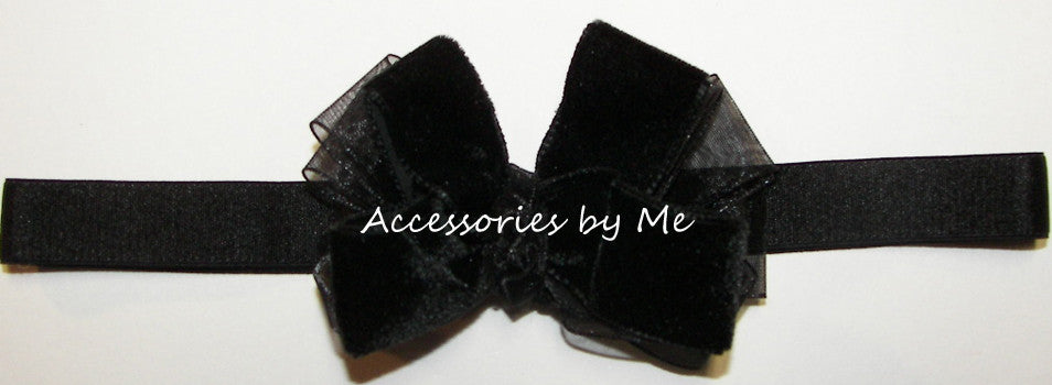 Fancy Black Velvet Organza Bow Headband - Accessories by Me