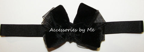 Fancy Black Velvet Organza Bow Headband