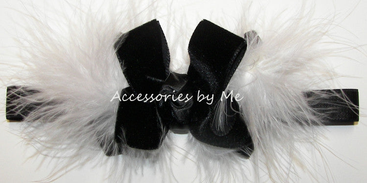 Black Velvet White Marabou Bow Headband