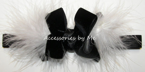 Fancy Black Velvet Bow Headband