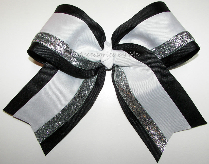 Black White Silver Big Cheer Bow - Accessories by Me