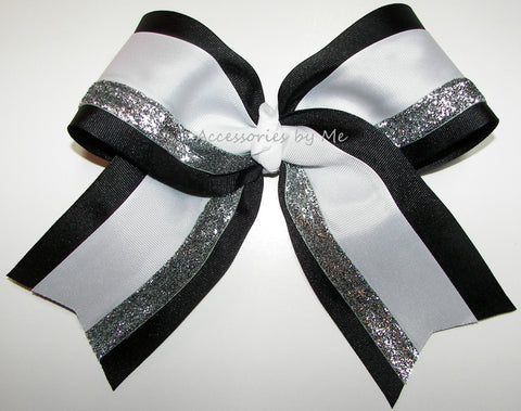 Black White Silver Big Cheer Bow