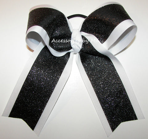 Wholesale Glitter Black White Ponytail Holder Cheer Bow or Sports Bow