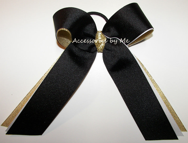 Black White Gold Ponytail Holder Sports Bow - Accessories by Me
