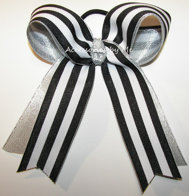 Black White Stripes Ponytail Holder Bow