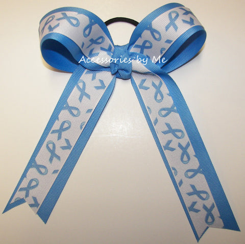 Blue Awareness Ponytail Holder Bow