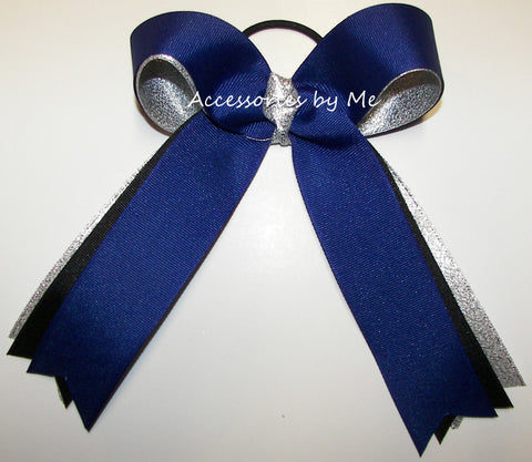 Cheerleader Royal Blue Black Silver Ponytail Holder Bow