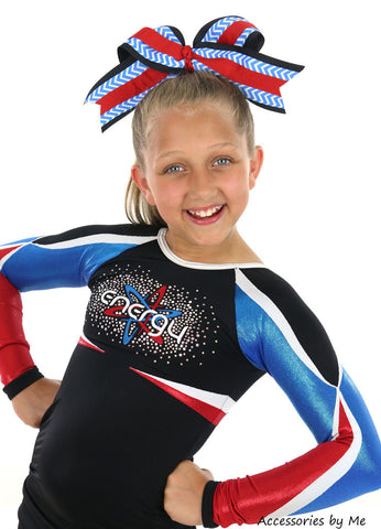 Chevron Blue Black Red Big Cheer Bow