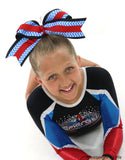 Chevron Blue Black Big Cheer Bow - Accessories by Me