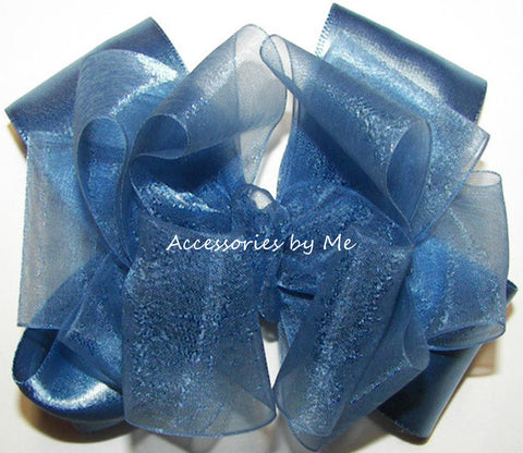 Blue Organza Satin Hair Bow