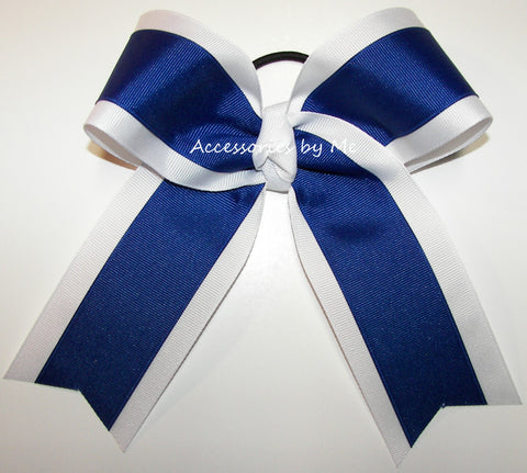 Wholesale Blue White Ponytail Holder Cheer Bow or Sports Bow