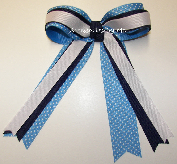 Blue White Polka Dots Ponytail Holder Cheer Bow
