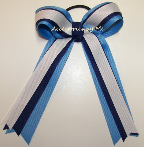Blue White Streamers Ponytail Holder Bow