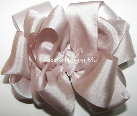 Blush Bisque Silk Satin Ribbon Hair Bow