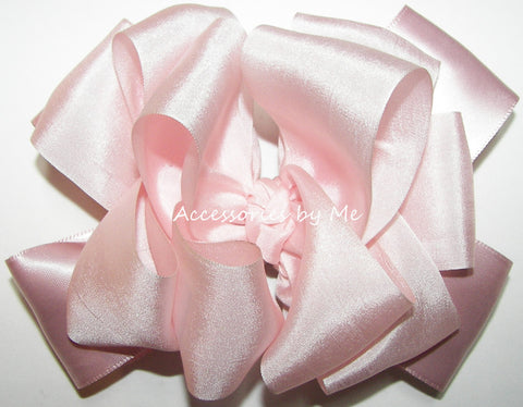 Blush Pale Pink Silk Satin Ribbon Hair Bow