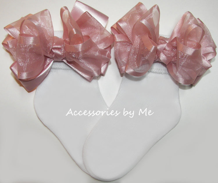 Blush Pink Organza Satin Bow Socks