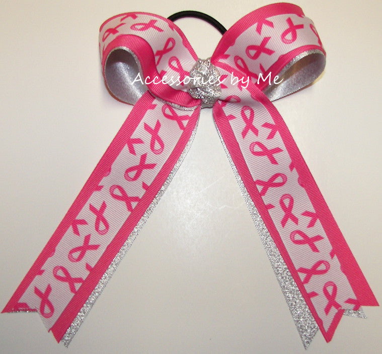 Sparkly Hot Pink Cancer Ponytail Bow