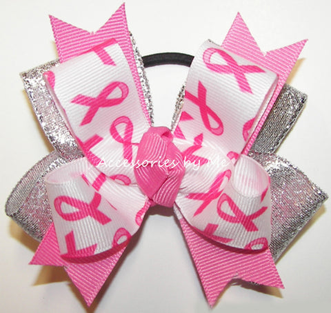 Breast Cancer Hot Pink Silver Pigtail Bow