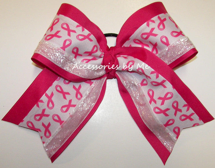 Sparkly Breast Cancer Big Cheer Bow