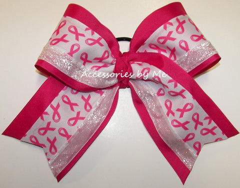 Breast Cancer Hot Pink Big Cheer Bow