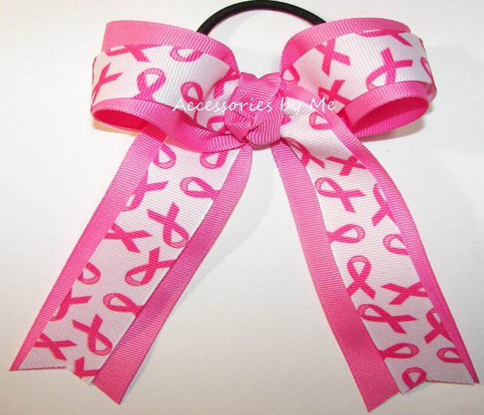 Pink Cancer Ribbon Ponytail Holder