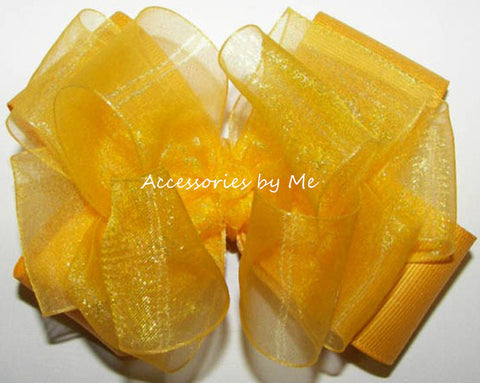 Bright Yellow Organza Grosgrain Hair Bow