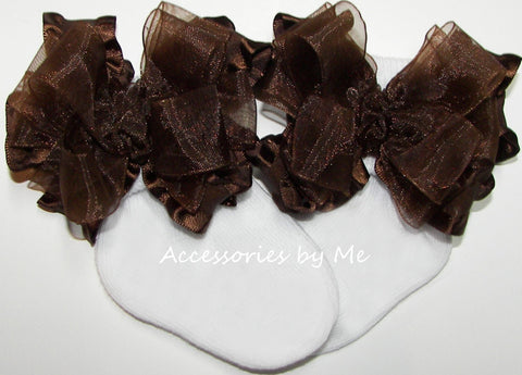 Brown Organza Ruffle Bow Socks
