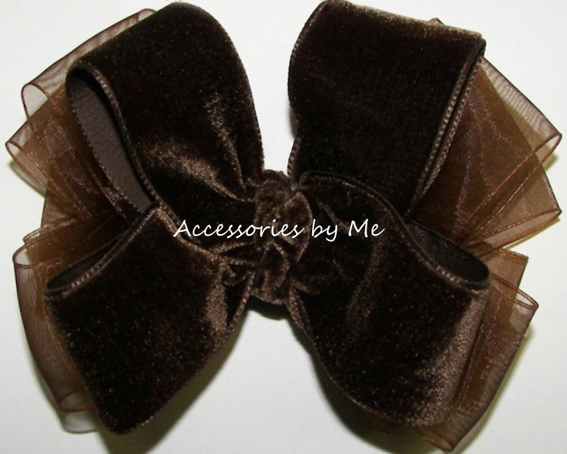 Brown Velvet Organza Hair Bow