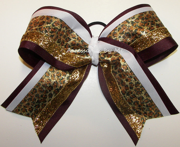 Maroon Gold Leopard Metallic Big Cheer Bow