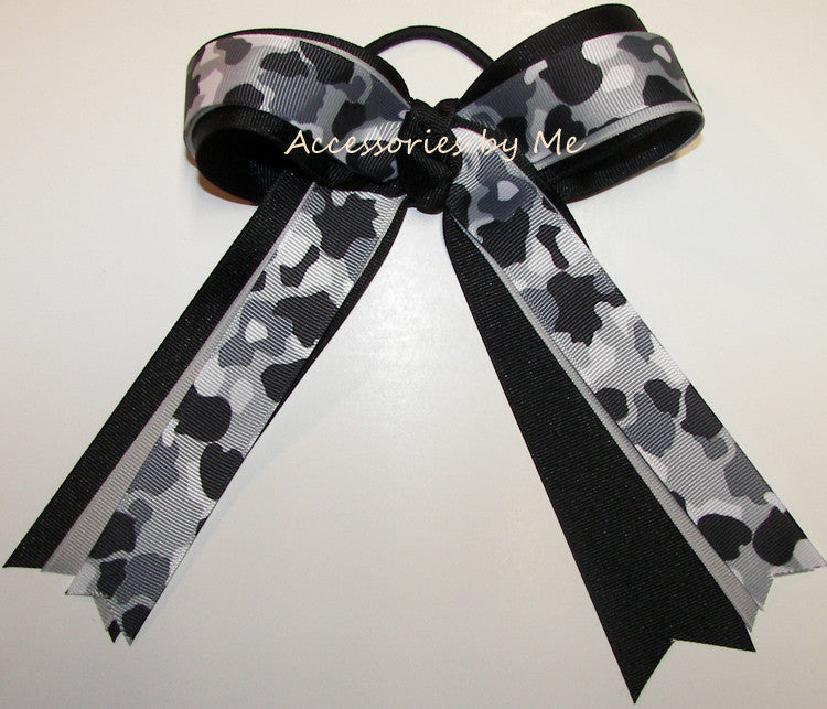 Camouflage Gray Black Ribbons Ponytail Bow