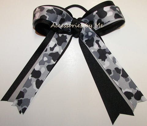 Camouflage Gray Black Ribbons Ponytail Holder Bow