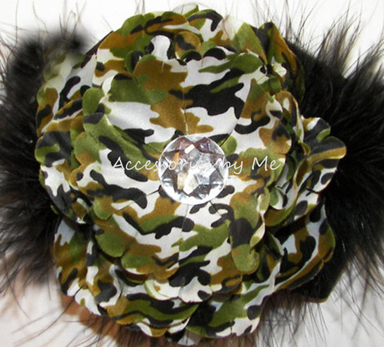 Camouflage Flower Green Black Marabou Hair Clip - Accessories by Me