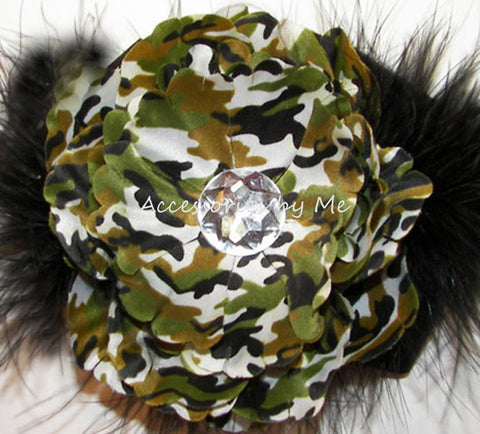 Camouflage Flower Green Black Marabou Hair Clip