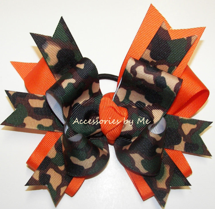 Camouflage Green Orange Funky Ponytail Holder Bow - Accessories by Me
