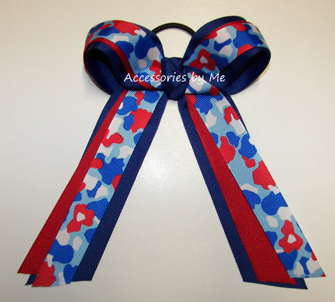 Patriotic Camouflage Red White Blue Ponytail Holder Bow