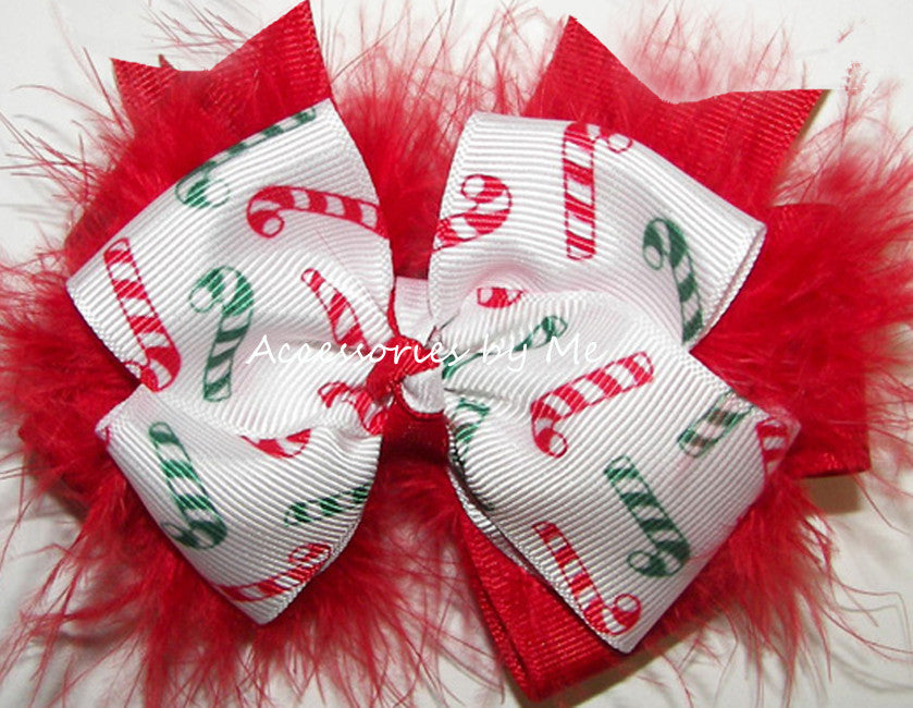 Christmas Candy Cane Red Marabou Hair Bow