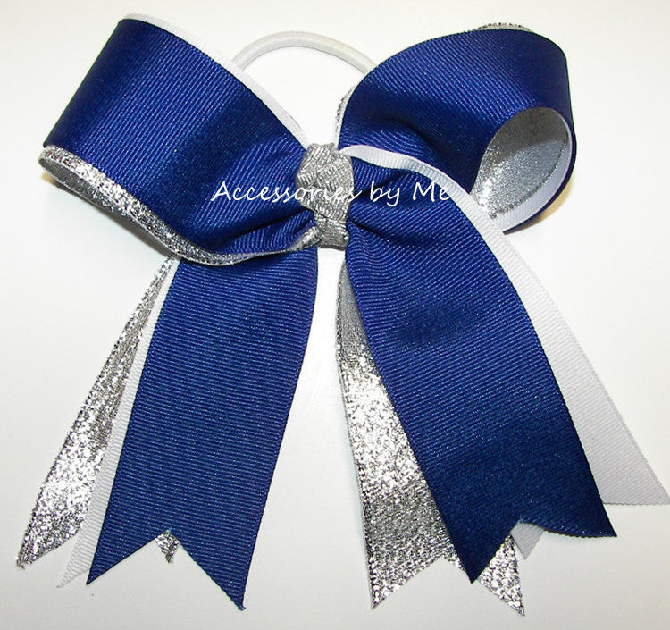 Cheerleader Royal Blue White Silver Ponytail Holder Bow - Accessories by Me