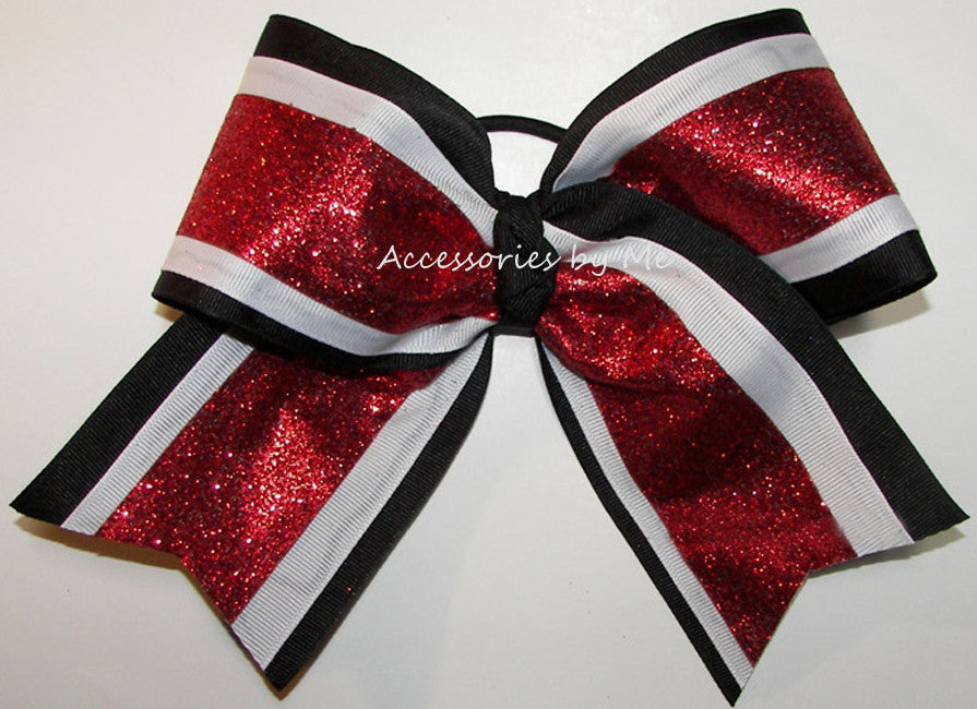 Glitter Red Black White Big Cheer Bow - Accessories by Me