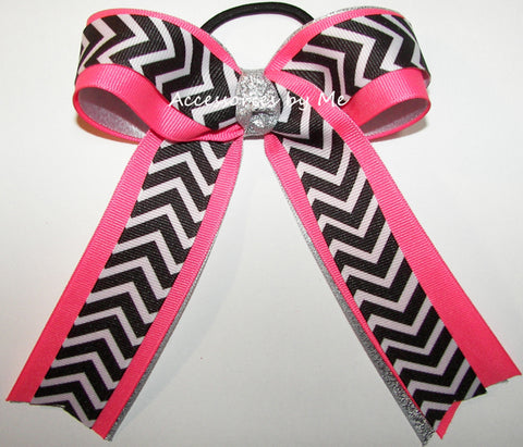Chevron Black Neon Pink Silver Ponytail Bow