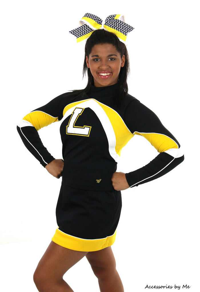 Chevron Yellow Black Big Cheer Bow - Accessories by Me