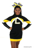 Chevron Yellow Black Big Cheer Bow