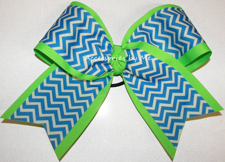Blue Neon Green Chevron Big Cheer Bow - Accessories by Me