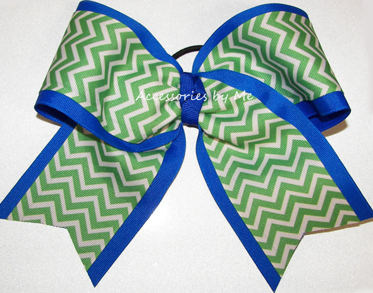 Lime Green Blue Chevron Big Cheer Bow