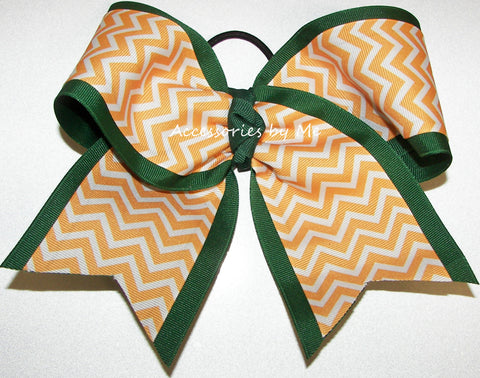 Yellow Gold Green Chevron Big Cheer Bow