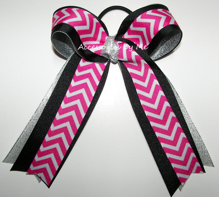 Chevron Hot Pink Black Silver Ponytail Holder Cheer Bow - Accessories by Me